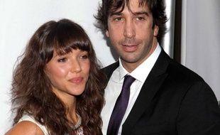 """Zoe Buckman et David Schwimmer, le 29 Septembre 2009, lors de l'inauguration de la pièce """"a steady rain"""", au théâtre Schoenfeld à New York"""