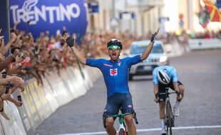 Sonny Colbrelli a remporté le championnat d'Europe de cyclisme, le 12 septembre 2021.