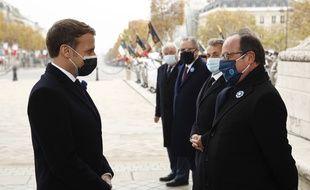 Emmanuel Macron et François Hollande lors de la cérémonie du 11 novembre dernier. (illustration)