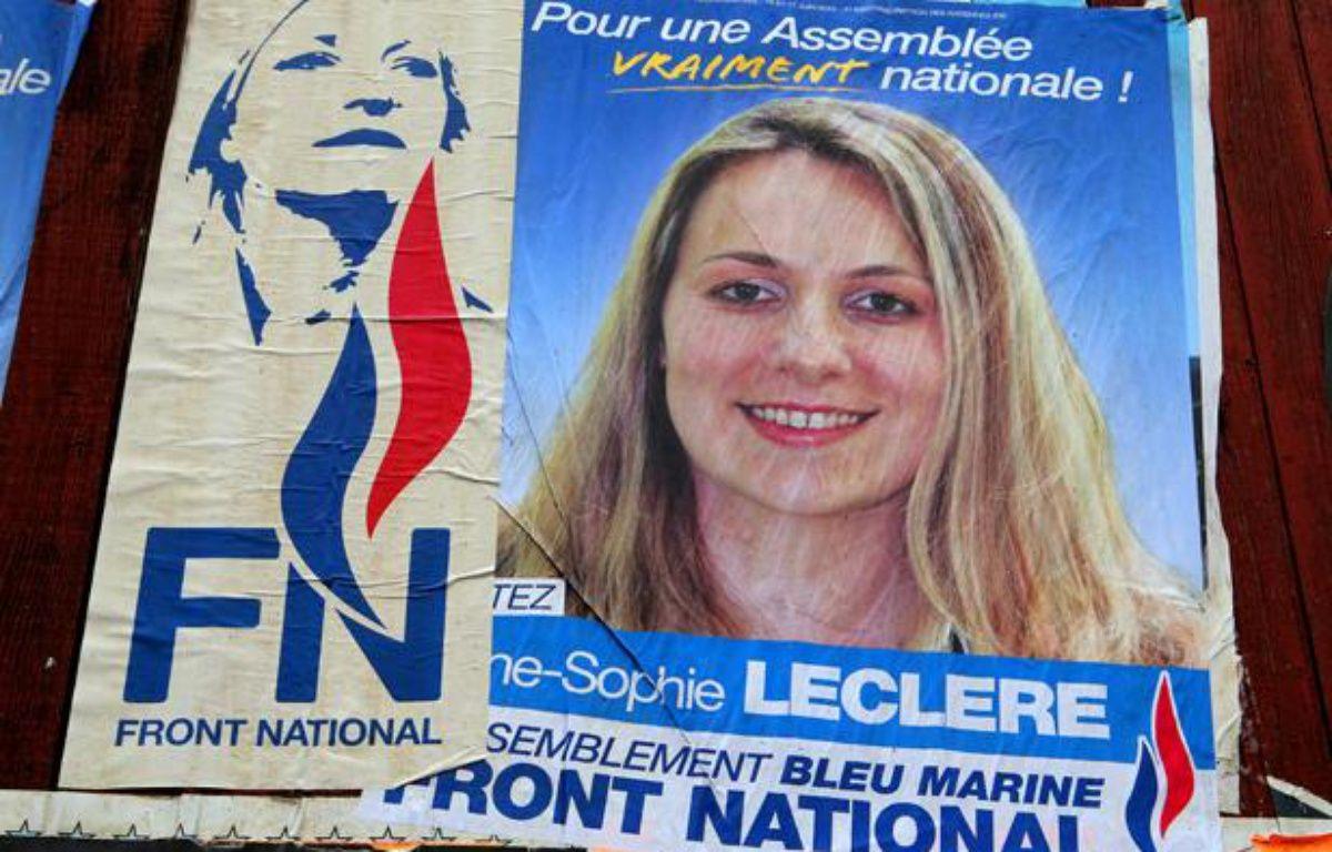 Anne-Sophie Leclere, la candidate du Front national à la municipale de Rethel (Ardennes) a été suspendue le 18 octobre 2013 après des propos racistes envers Christiane Taubira. – FRANCOIS NASCIMBENI / AFP