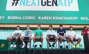 Taylor Fritz,Daniil Medvedev,Borna Coric,Karen Khachanov,Reilly Opeelka et Stefan Kozlov lors de la présentation du tournoi Next Gen ATP, le 7 mars 2017 aux Etats-Unis.
