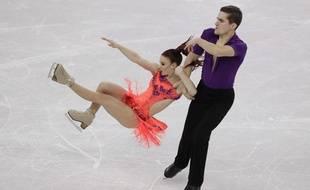 Marie-Jade Lauriault et Romain Le Gac pendant le programme court danse, le 11 février 2018.