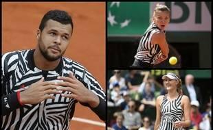 Jo-Wilfried Tsonga, Simona Halep (en haut à droite) et Kristina Mladenovic (en bas à droite), tout de zèbre vêtus.