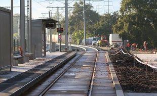 Le 7 novembre 2016, derniers travaux à Blanquefort sur la ligne C du tramway avant la mise en service