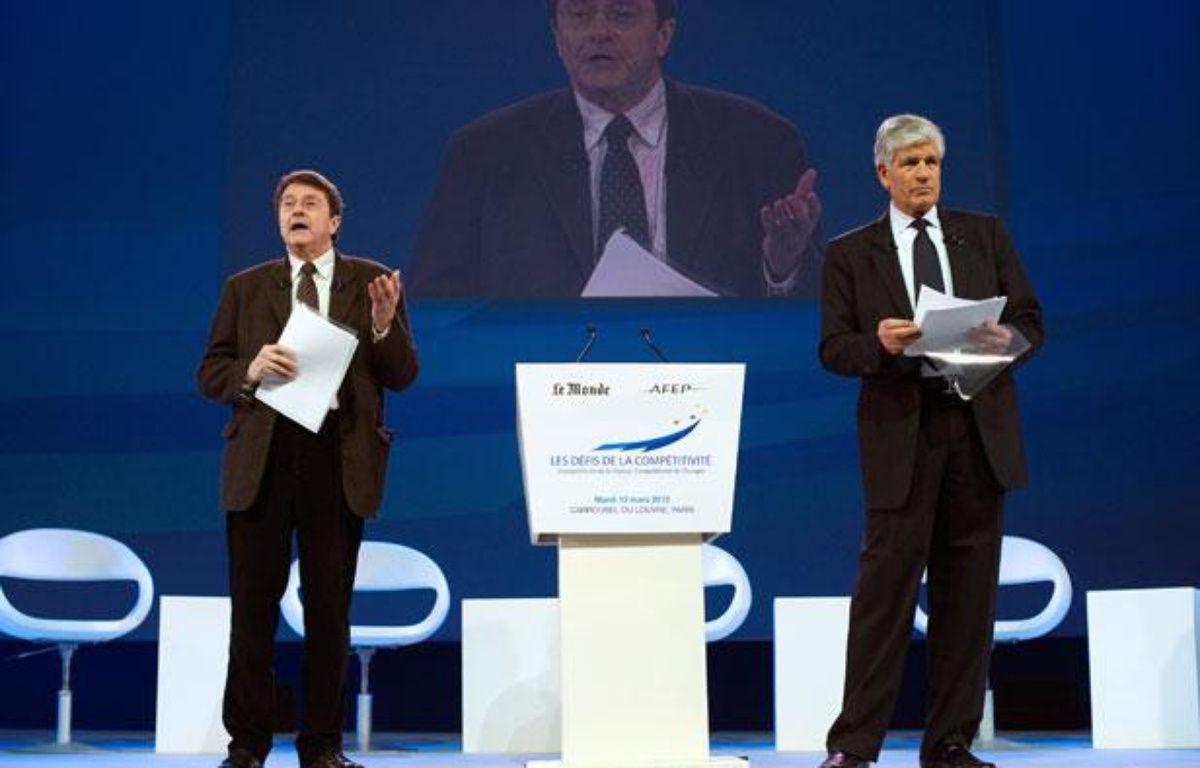 Maurice Levy et Eric Izraelewicz,mardi 13 mars 2012, au colloque sur Les défis de la compétitivité – LIONEL BONAVENTURE