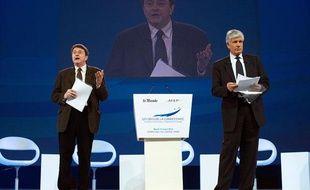 Maurice Levy et Eric Izraelewicz,mardi 13 mars 2012, au colloque sur Les défis de la compétitivité