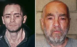 Photos d'archives du gourou meurtrier Charles Manson en 1971 (g), lors de son procès, et le 18 mars 2009 (d) à la prison d'Etat de Corcoran, en Californie