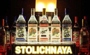 Des bouteilles de vodka Stolichanya, le 29 avril 2011.