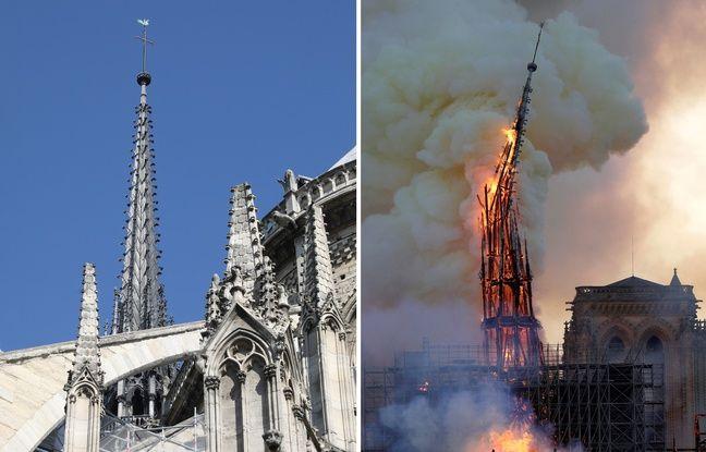 La flèche de Notre-Dame (500 tonnes en bois de chêne recouvertes d'un manteau de 250 tonnes de plomb) s'est effondrée dans l'incendie du 15 avril 2019.