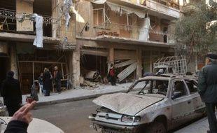 Quartier détruit par des tirs rebelles le 14 février 2016 à Alep