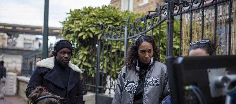 Kery James et Leilä Sy sur le tournage du film « Banlieusards ».