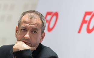 Pascal Pavageau lors d'une conférence de presse, le 1er mai 2018.