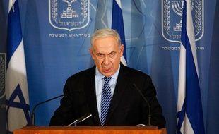 Le Premier ministre israélien, Benyamin Netanyahou, s'adresse aux médias, lors d'une conférence de presse à Tel Aviv, le 14 novembre 2012.
