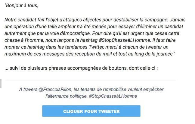 Extrait du message envoyé à tous les militants de François Fillon.