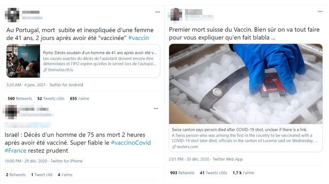 Sur Twitter, de nombreuses publications font état de la mort d'au moins trois personnes après avoir été vaccinée contre le Covid-19
