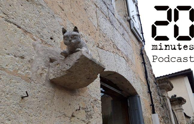 Sculpture de chat au village de La Romieu dans le Gers