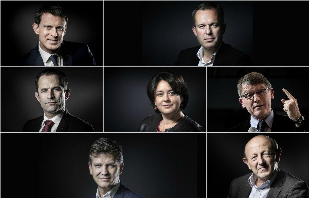 Les candidats à la primaire organisée en janvier 2017 par le PS: Manuel Valls, François de Rugy, Benoît Hamon, Sylvia Pinel, Vincent Peillon, Arnaud Montebourg et Jean-Luc Bennahmias. – JOEL SAGET / AFP // PHILIPPE LOPEZ / AFP