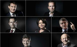 Les candidats à la primaire organisée en janvier 2017 par le PS: Manuel Valls, François de Rugy, Benoît Hamon, Sylvia Pinel, Vincent Peillon, Arnaud Montebourg et Jean-Luc Bennahmias.