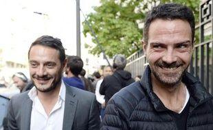 L'ex-trader de la Société générale Jérôme Kerviel (d) accompagné de son avocat David Koubbi le 8 septembre 2014 à Paris