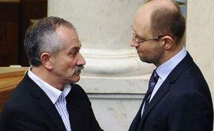 Arseni Iatseniouk et Vitali Klishko, le 24 février 2014 au parlement ukrainien.