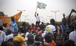 Le 05 fevrier 2012. Plusieurs milliers de personnes se sont retrouvees a la manifestation du mouvement du 23 Juin - M23 - place de l'Obelisque a Dakar . Le M23 exige le retrait de la candidature d'Abdoulaye Wade qu'il juge anticonstitutionnelle.