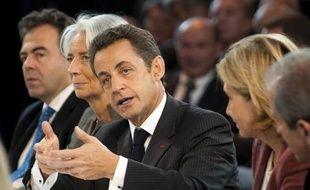 Nicolas Sarkozy a une réunion avec des industriels de la recherche à Venelles, mardi.