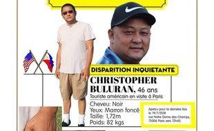 Avis de recherche Christopher Buluran, touriste américain disparu à Paris le 14 juillet dernier.