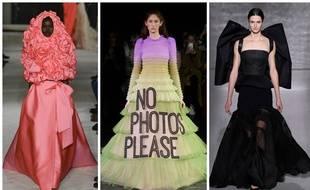 De gauche à droite, le défilé Valentino, Viktor & Rolf et Givenchy.
