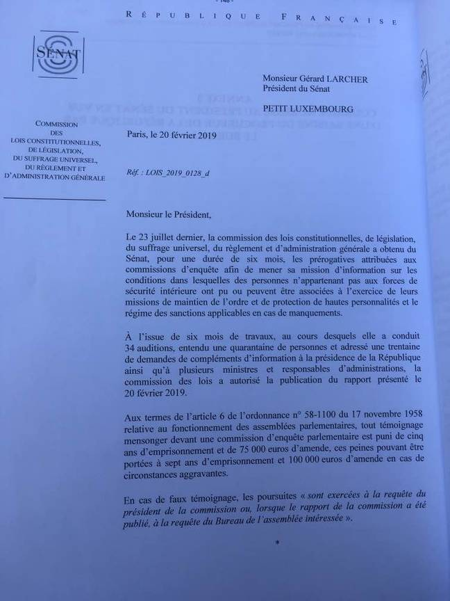 Le lettre de la commission des Lois du Sénat à Gérard Larcher.