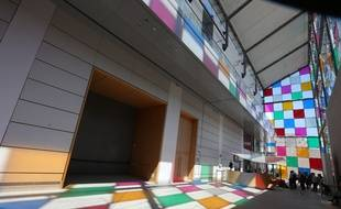 Strasbourg le 12 juin 2014. l(artiste Daniel Buren inaugure son exposition et ses travaux in situ au musee d'art moderne de Strasbourg.