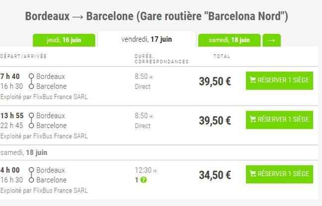 bordeaux barcelone en bus c 39 est maintenant possible pour 30 euros. Black Bedroom Furniture Sets. Home Design Ideas
