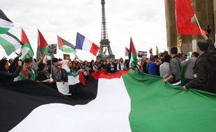 Manifestation en solidarite avec le peuple palestinien et Gaza, a Paris, France le 17 Aout 2014. Credit:Sevgi/Sipa/SEVGI_091014/Credit:SEVGI/SIPA/1408180920