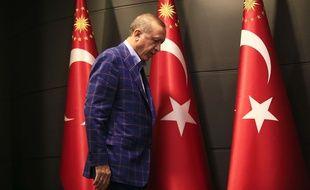 Recep Tayyip Erdogan juste après l'annonce de la victoire des partisans du «oui» au référendum, dimanche 16 avril 2016.