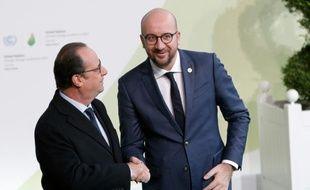 Le président Francois Hollande et le Premier ministre belge Charles Michel le 30 décembre 2015 au Bourget
