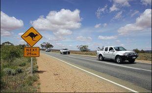 Un panneau kangourou au bord de la route en Australie, le 7 juillet 2017.