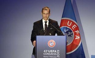 Le président de l'UEFA, le Slovène Aleksander Ceferin, lors du Congrès de l'instance à Rome, en février 2019.