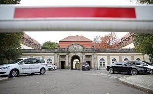 L'entrée de la clinique St George à Leipzig, dans l'est de l'Allemagne, le 14 octobre 2014, où est décédé dans la nuit un employé de l'ONU, contaminé par le virus Ebola