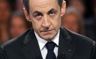 L'ancien président Nicolas Sarkozy, le 6 mars 2012 sur le plateau de France 2 à Paris