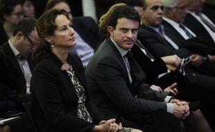 Ségolène Royal et Manuel Valls, le 26 janvier 2012 à la Maison des métallos, à Paris.