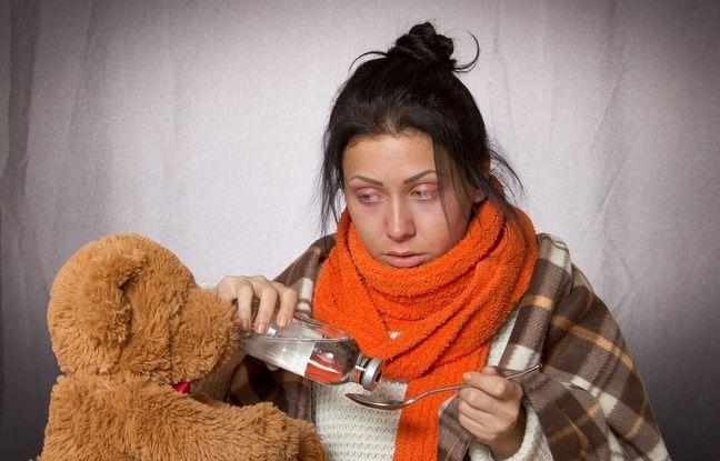 Illustration d'une femme souffrant de la grippe.