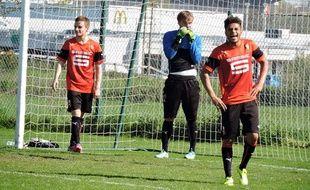 Tous titulaires à Auxerre, Sébastien Salles-Lamonge, Maxime Pattier et Denis-Will Poha (de g. à d.) peuvent rigoler : le Stade Rennais est en demi-finale de la Gambardella.