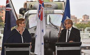 La ministre australienne de la Défense Marise Payne et le ministre français de la Défense Jean-Yves  Le Drian.