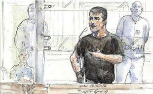 Croquis d'audience représentant Yvan Colonna, à son procès en appel à Paris, le 4 mai 2011