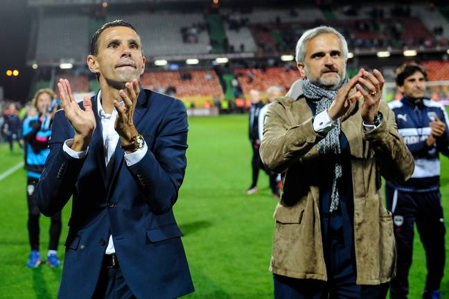 L'entraîneur Gustavo Poyet et le président des Girondins, Stéphane Martin