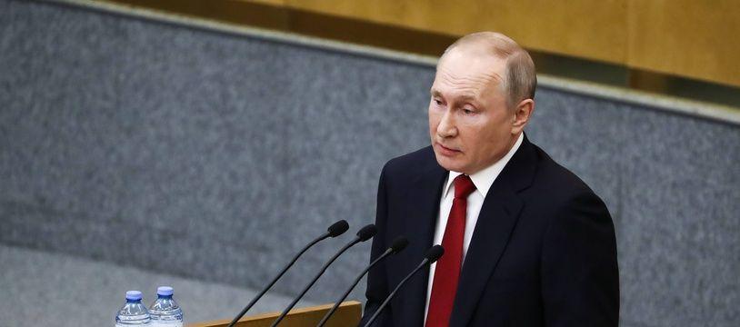 Vladmir Poutine, le 10 mars 2020 à la Douma à Moscou.