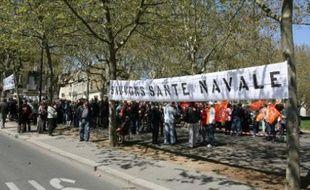 Manifestation de soutien à l'école de Santé Navale, le 5 avril dernier à Bordeaux.