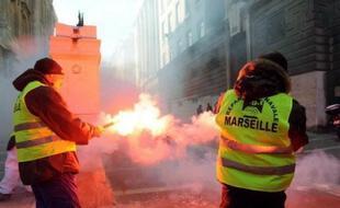 Des dockers lors d'une grève à Marseille (archives)