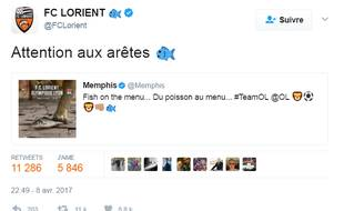 Le FC Lorient répond au tweet de Memphis Depay