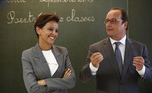 Najat Vallaud-Belkacem dans une école de Pouilly-sur-Serre, le 1er septembre 2015.