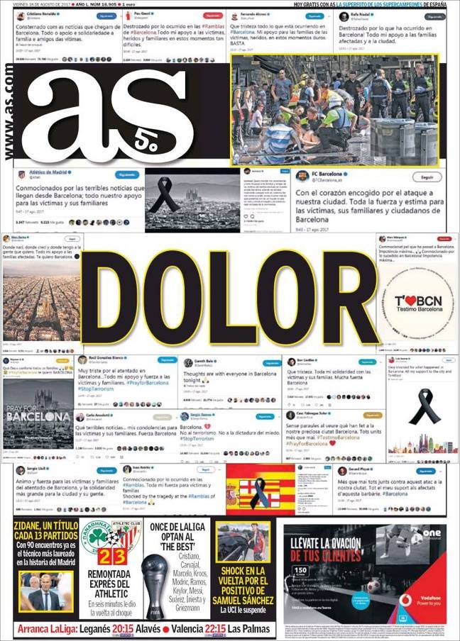 La une du journal sportif espagnol «AS» ce 18 août 2017.